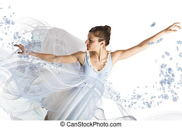 Graceful ballerina dancing among flowers and veils