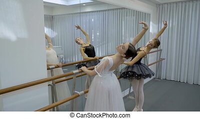 Graceful ballerinas are practicing by bar in modern studio.