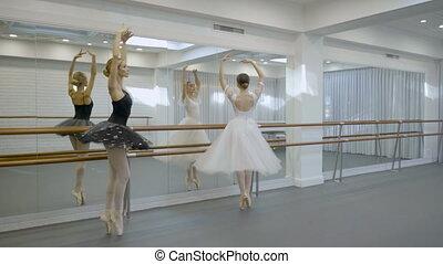Graceful ballerinas dance near barre in ballet studio.