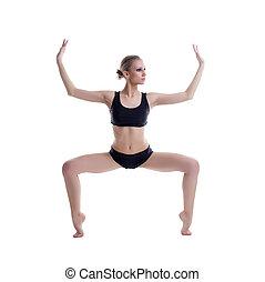 Graceful ballet dancer training, isolated on white