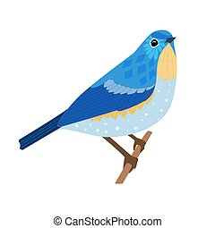 graceful bird sitting on branch for your design