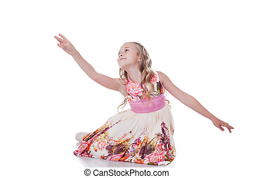 Graceful blonde girl dancing in studio