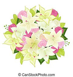 graceful bouquet of white lilies and pink roses for your design