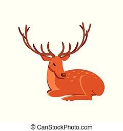 Graceful brown deer with antlers lying, wild animal cartoon...