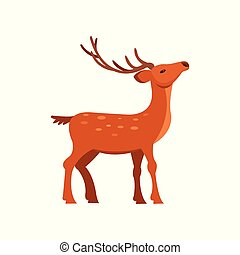 Graceful brown spotted deer with antlers, wild animal...
