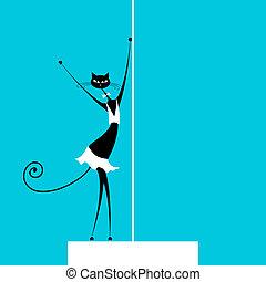 Graceful cat dancing, vector illustration for your design