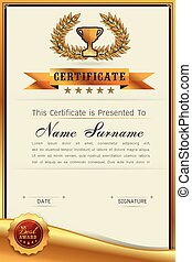 Graceful certificate template with Luxury and modern pattern...