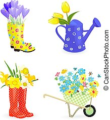graceful collection bouquets of fresh flowers in gardening equip