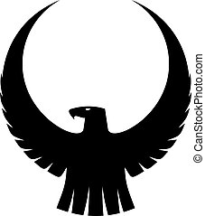 Graceful eagle with arched wings - Black and white...