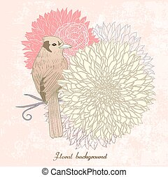 graceful floral background with bird