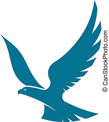 Graceful flying eagle soaring high in the sky with outspread wings, silhouette vector illustration on white