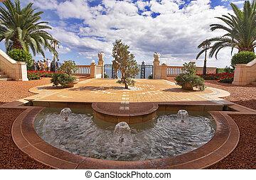Graceful fountain - Charming architectural ensemble in Bahai...
