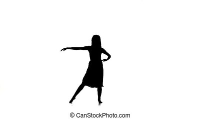 Graceful girl with long hair continue dance modern contemporary style on white, silhouette, slow motion