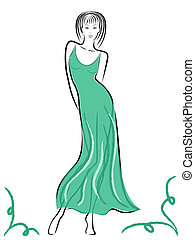 Graceful lady in turquoise gown