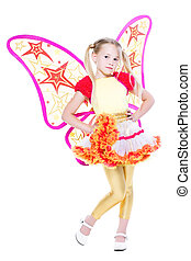 Graceful little blond girl posing in butterfly dress....