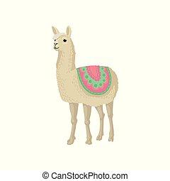 Graceful llama alpaca animal in ornamented poncho vector...