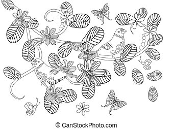 graceful nature pattern with birds for your coloring page