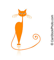 Graceful orange striped cat for your design