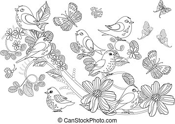 graceful ornament with cute birds on swirl floral twig and butte