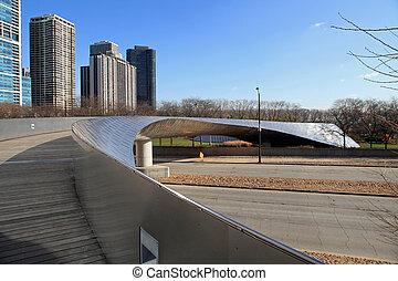 Graceful pedestrian bridge in downtown Chicago