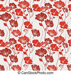 graceful red seamless floral pattern