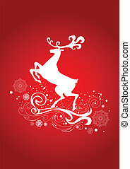 Graceful Reindeer on the Red Background