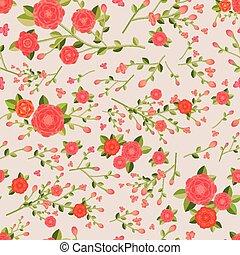 graceful seamless floral pattern over beige background
