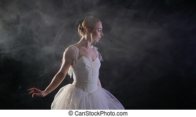 graceful sensual ballerina in white tutu dress dancing...