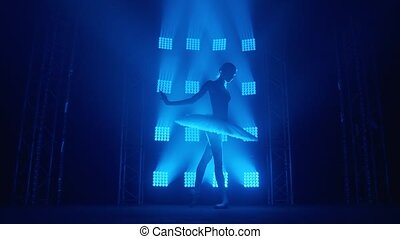 Graceful silhouette ballerina doing a workout in the classroom. Smoke in the rays of blue light. Ballet dancer in white tutu, girl in pointe, whirls around you, slow motion