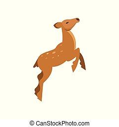 Graceful spotted fallow roe deer jumping, wild animal cartoon vector Illustration