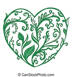 graceful stylized twigs with leaves in the shape of a heart. retro pattern with baroque ornament for your design