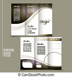 graceful tri-fold brochure template design in elegant golden...