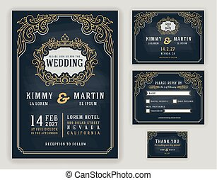 Graceful vintage and luxurious wedding invitation on chalkboard background