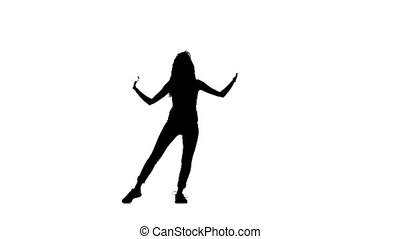 Graceful woman dancing on white background, silhouette