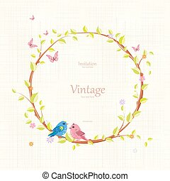 graceful wreath with floral twig and pretty birds on grunge back