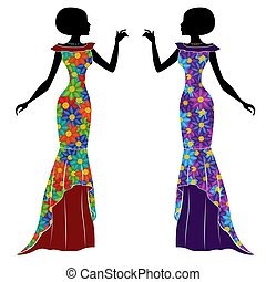 Graceful young ladies in long gown