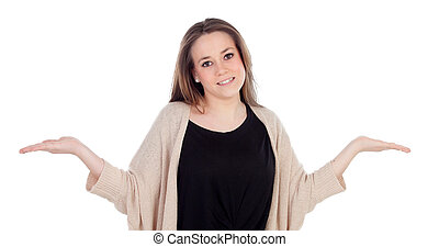 Graceful young woman shrugging