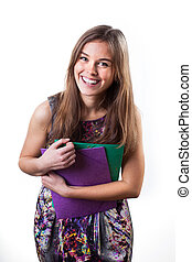graciøs, smil, kvindelig student