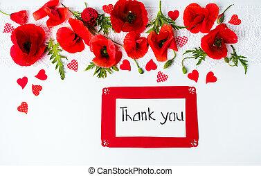 gracias card, con, amapola, flores, punta la vista