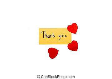 gracias card, con, corazón