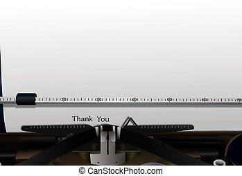 gracias, en, máquina de escribir