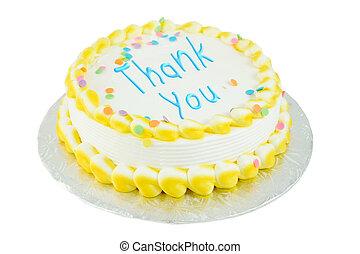 gracias, festivo, pastel