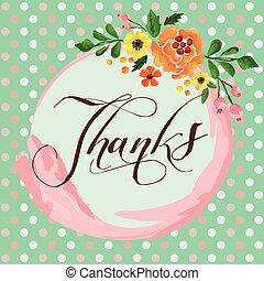 gracias, flor, tarjeta