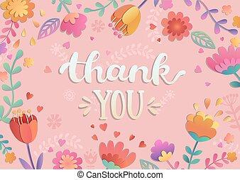 gracias, manuscrito, letras, con, flowers.