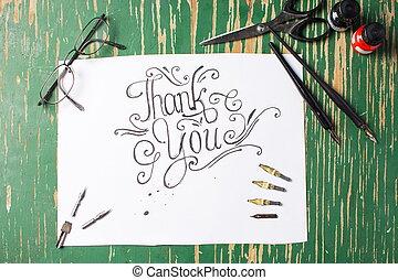 gracias, nota, caligrafía, con, escritura, equipo