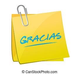 gracias., obrigado, em, espanhol, poste, sinal, mensagem