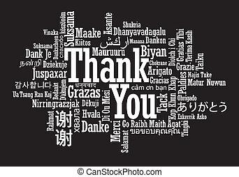 gracias, palabra, nube, ilustración