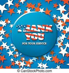 gracias, para, su, servicio, militar, aprecio, tarjeta, con, estrella, plano de fondo