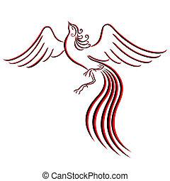 gracieux, noir, firebird, rouges, contour