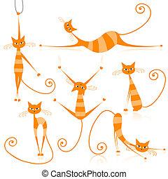 gracieux, orange, ton, rayé, conception, chats